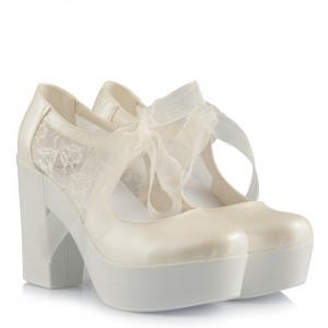 Rahat Topuklu Gelin Ayakkabısı Kırık Beyaz