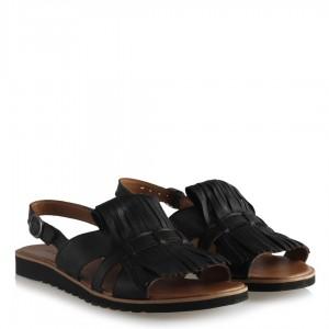 Sandalet Hakiki Deri Püsküllü Siyah