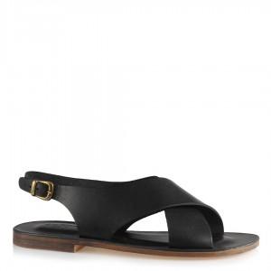 Sandalet Siyah Hakiki Deri Çapraz Bantlı