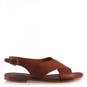 Sandalet Taba Hakiki Deri Çapraz Bantlı
