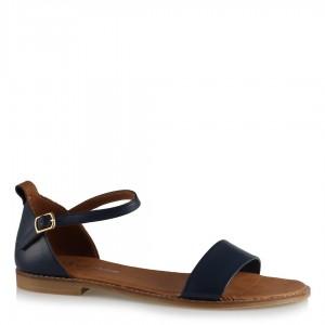 Sandalet Tek Bantlı Lacivert Deri