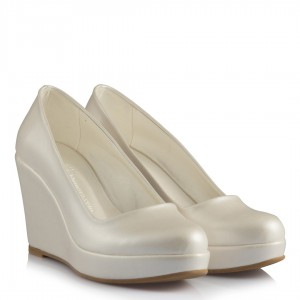 Sedef Deri 15 Pont Dolgu Topuk Gelinlik Ayakkabısı
