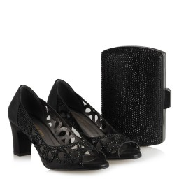 Siyah Ayakkabı Taşlı Şık Kafes Model Çanta Kombin