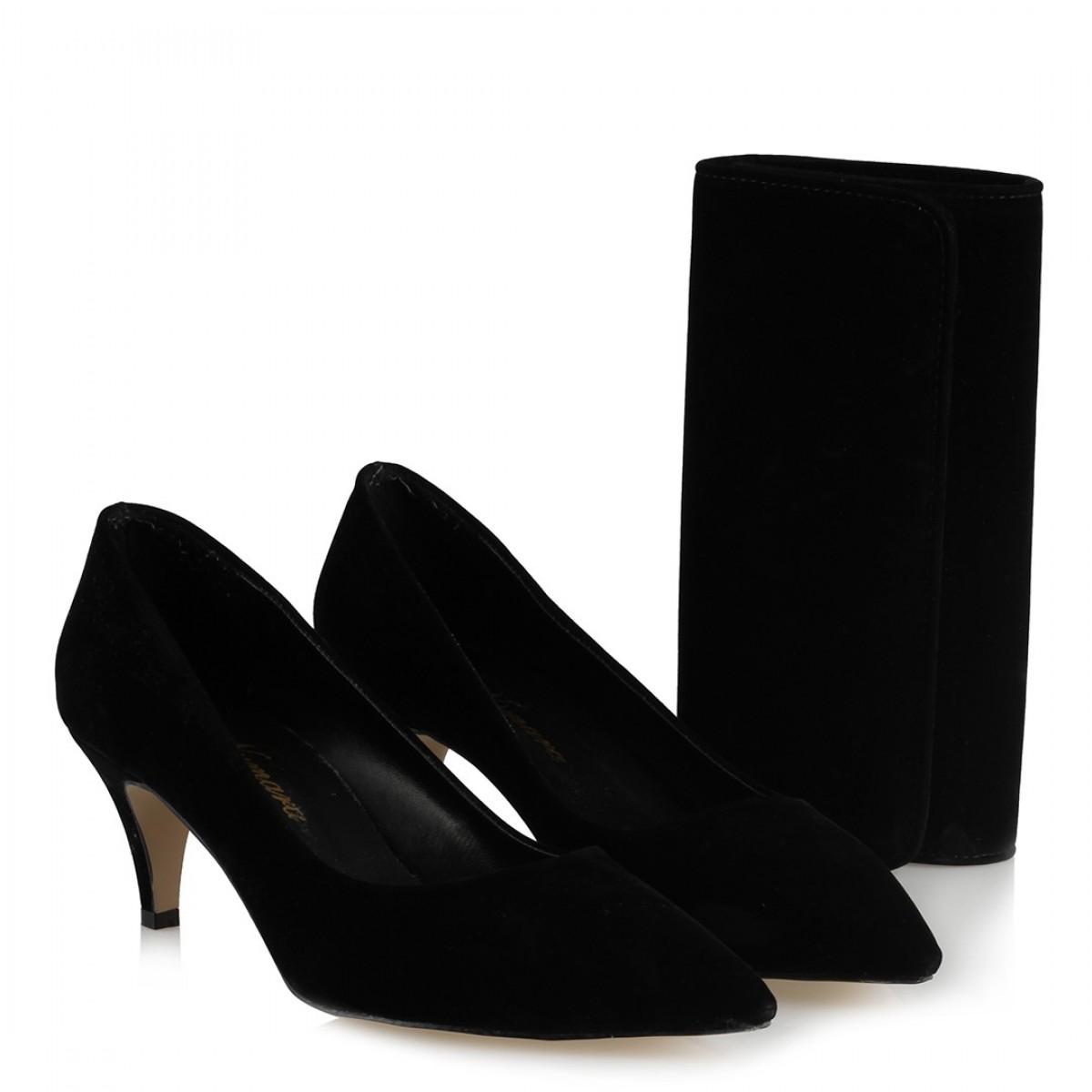 Siyah Az Topuklu Stiletto Ayakkabı Portföy Çanta Kombin