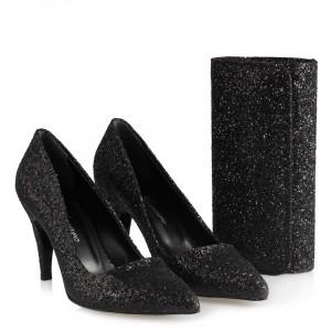 Siyah Cam Kırığı Stiletto Çanta Takım