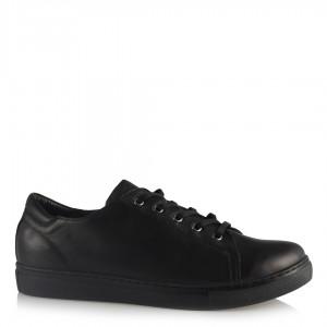 Siyah Hakiki Deri Ayakkabı Bağcıklı Comfort