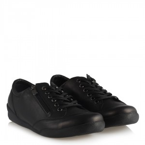 Siyah Hakiki Deri Ayakkabı Comfort Fermuar Aksesuarlı