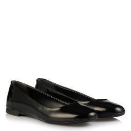 Black Patent Leather Woman Ballet Flat Shoes