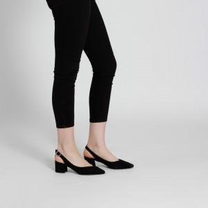 Siyah Stiletto Arkası Açık Kalın Topuklu