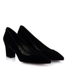 Замшевые Черные Туфли На Толстом Каблуке