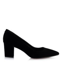 Siyah Süet Kalın Topuklu Stiletto