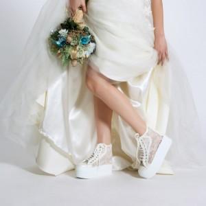 Spor Düğün Ayakkabısı İnci Dantel Yüksek Taban