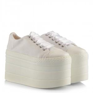 Spor Gelin Ayakkabısı Beyaz Keten