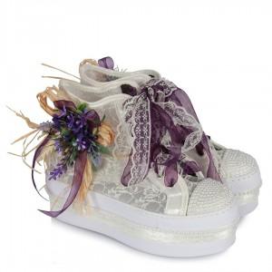 Spor Gelin Ayakkabısı Lavanta Tasarımlı