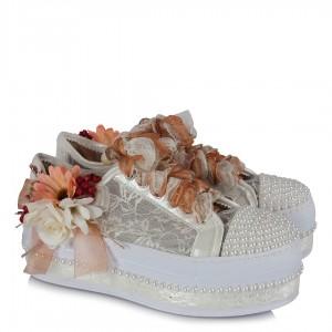 Spor Gelin Ayakkabısı Somon Çiçekler
