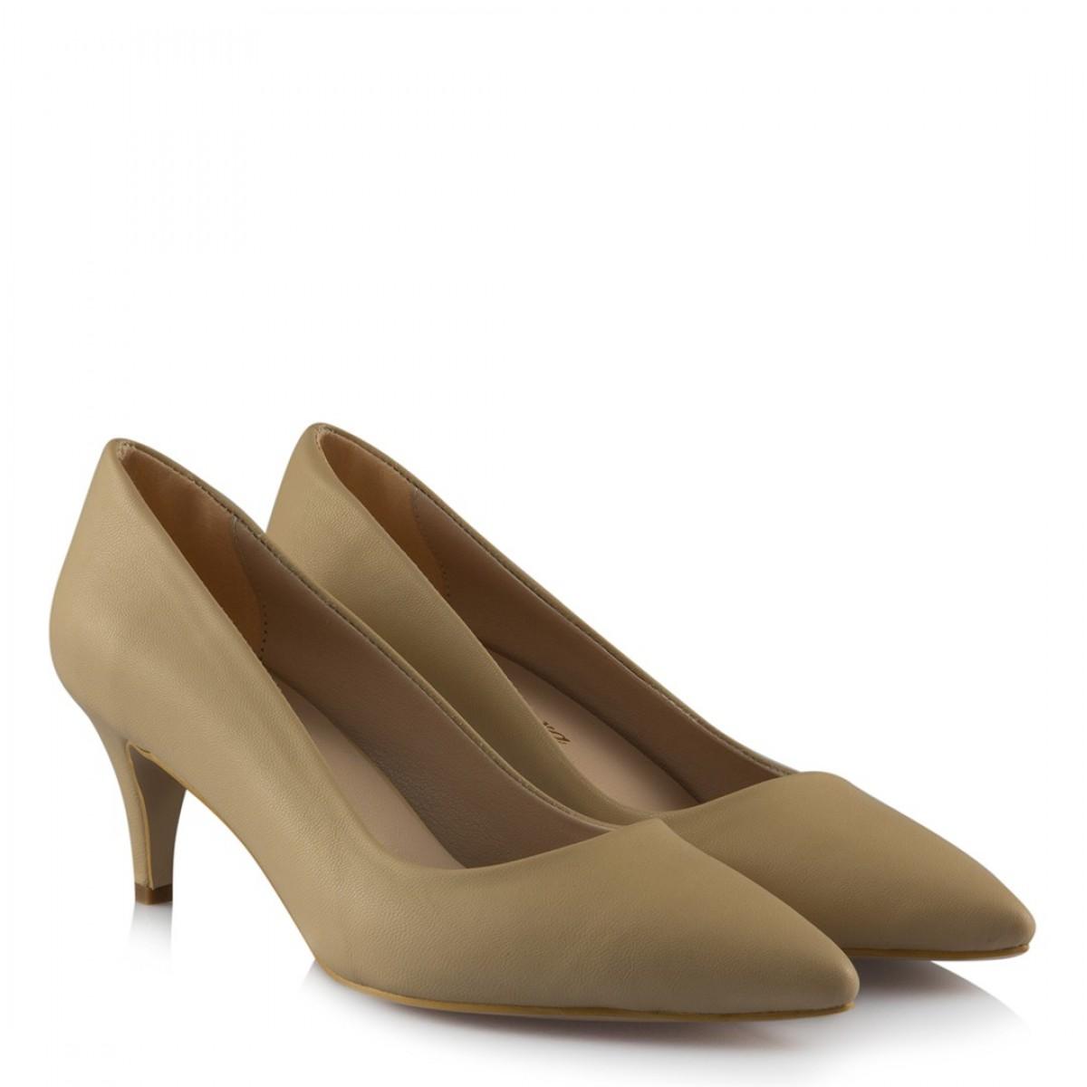 Stiletto Ayakkabı Az Topuklu Ten Rengi