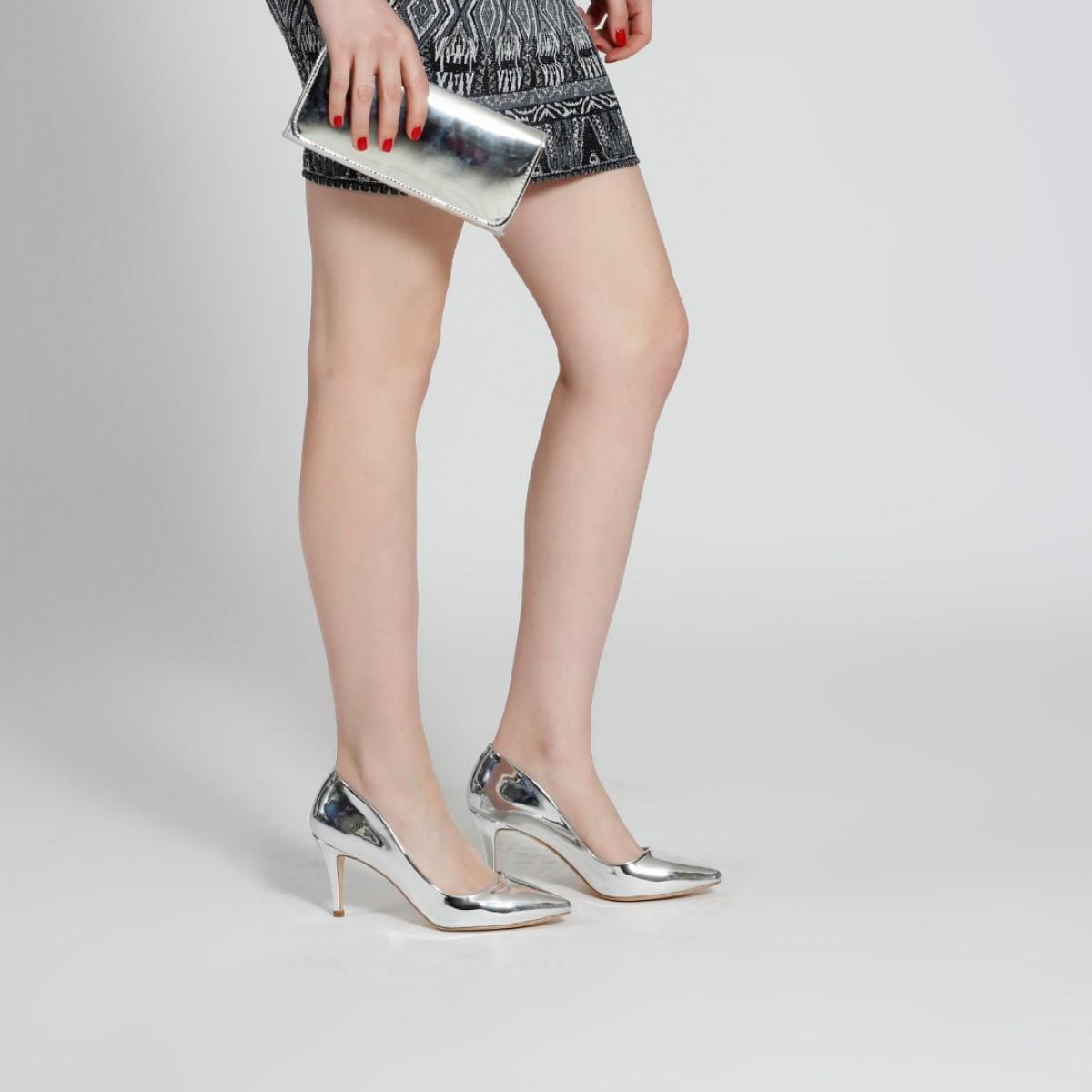 Stiletto Ayakkabı Lame Ayna