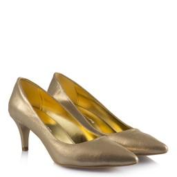 Золотистые Блестящие Туфли На Маленьком Каблуке
