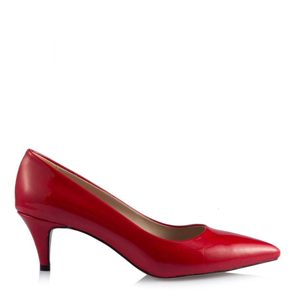 Stiletto Az Topuklu Kırmızı Rugan