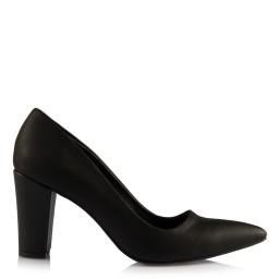 Черные Туфли На Толстом Каблуке Матовая Кожа