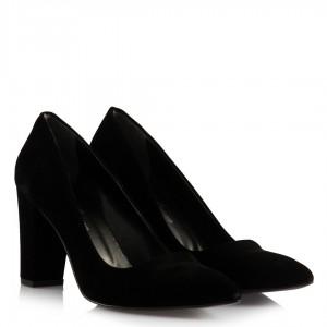 Stiletto Kalın Topuklu Siyah Süet