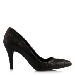 Stiletto Siyah Crocodil Deri Desenli