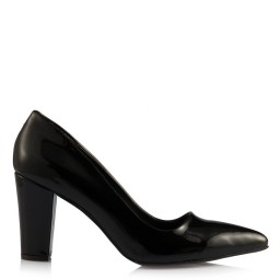 Stiletto Siyah Rugan Kalın Topuklu