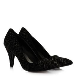 Замшевые Черные Туфли С Камнями