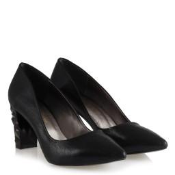 Stiletto Siyah Yaldızlı Tasarım Topuklu
