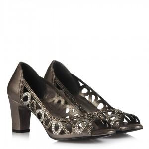 Topuklu Abiye Ayakkabı Taşlı Füme