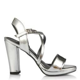 Topuklu Ayakkabı Lame Ayna Çapraz