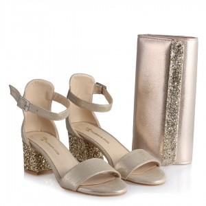 Topuklu Ayakkabı Sandalet Dore Yaldızlı Çanta Takım