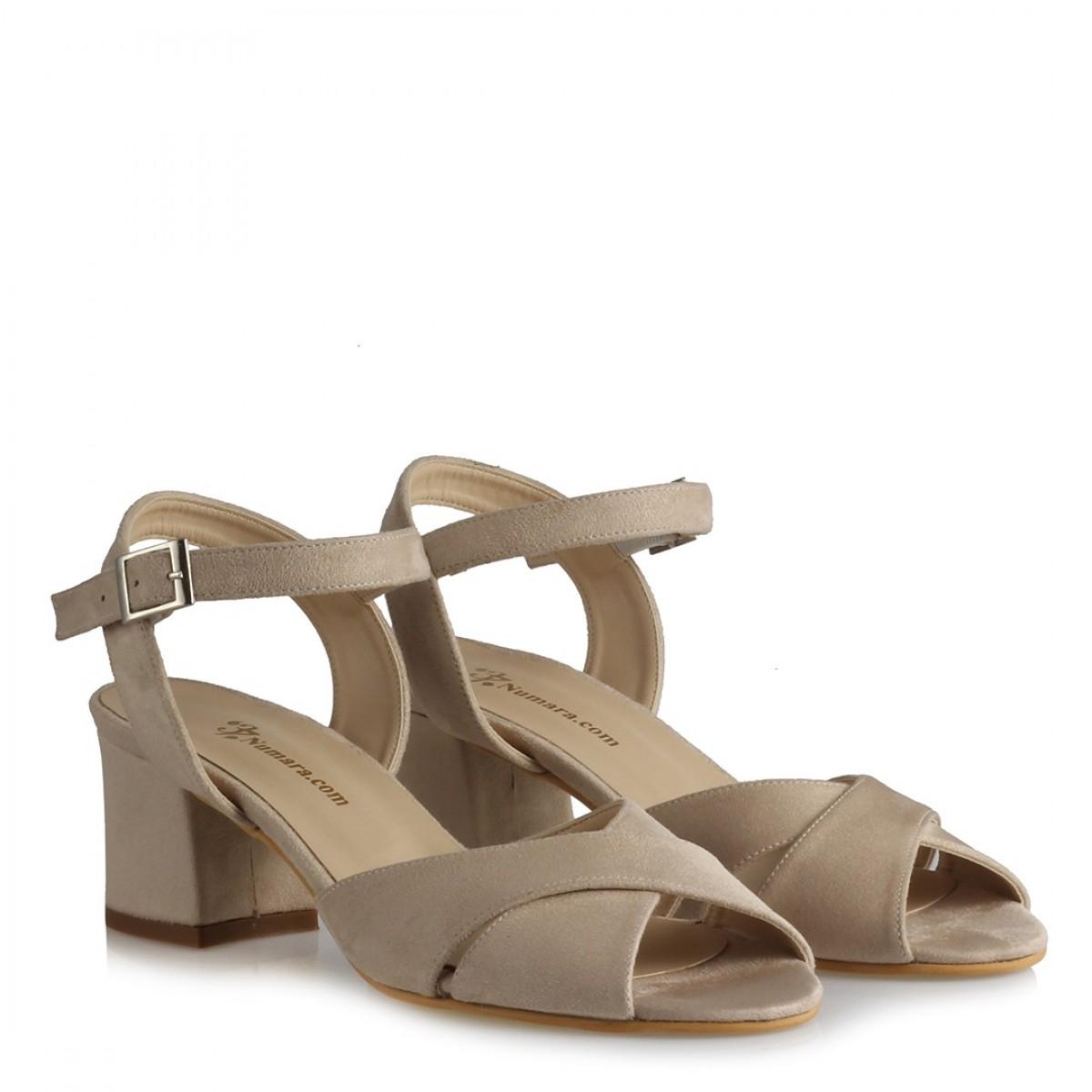 Topuklu Sandalet Ayakkabı Bej Süet  Çapraz