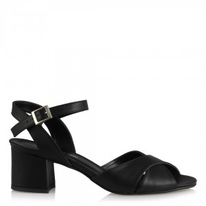 Topuklu Sandalet Ayakkabı Siyah Çapraz