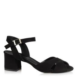 Topuklu Sandalet Ayakkabı Siyah Süet  Çapraz