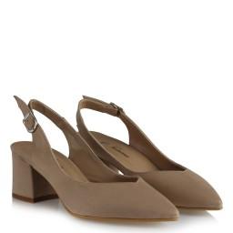 Vizon Süet Stiletto Arkası Açık Kalın Topuklu