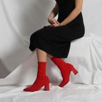Çorap Topuklu Bot Kırmızı