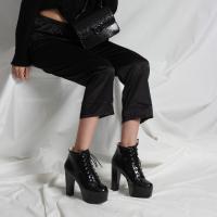 Bayan Platform Bot Siyah Rugan Bağcıklı