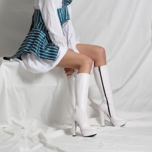 Platform Çizme Beyaz Mat Deri