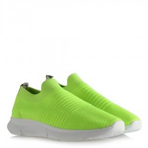 Bayan Spor Ayakkabı Neon Sarı Streç Çorap