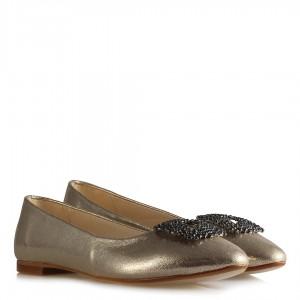 Babet Ayakkabı Dore Yaldızlı Füme Taş Tokalı