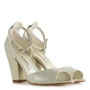 Nikah Ayakkabısı Beyaz Rugan Az Topuklu