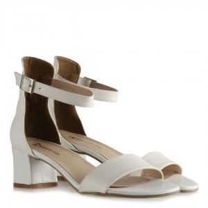 Nikah Ayakkabısı Beyaz Az Topuk Tek Bantlı