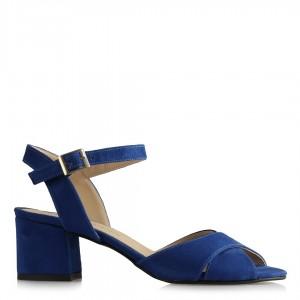 Saks Mavi Süet Topuklu Sandalet Ayakkabı Çapraz