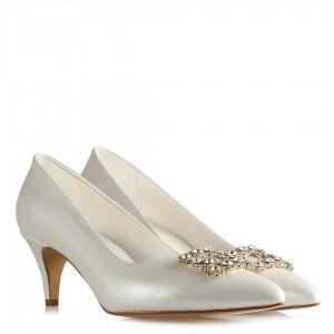 Nikah Ayakkabısı Kırık Beyaz Stiletto Taşlı