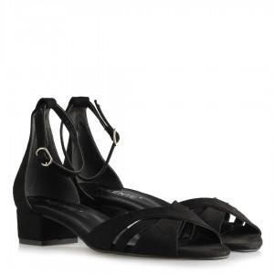 Topuklu Sandalet Çapraz Siyah Süet