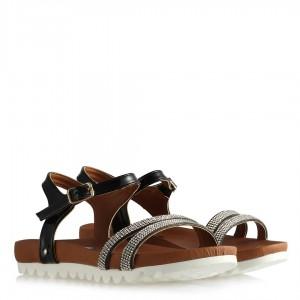 Taşlı Sandalet Siyah Rugan Zarif