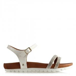 Taşlı Sandalet Beyaz Rugan Zarif