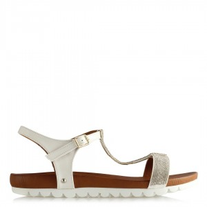 Taşlı Sandalet Beyaz Ayna