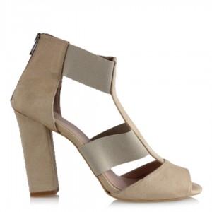 Topuklu Ayakkabı Bej Süet Bantlı